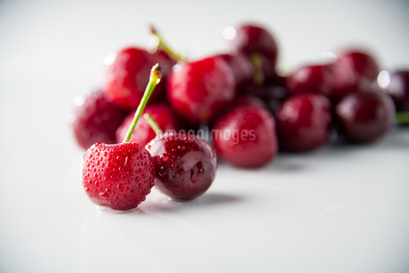 Ripe red cherries on white background.の写真素材 [FYI04519780]