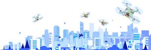 ドローンが監視して物を運搬する都市のイラスト素材 [FYI04521331]
