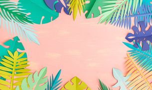 Paper tropical leaves on pink backgroundの写真素材 [FYI04523488]
