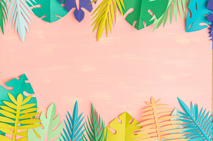 Paper tropical leaves on pink backgroundの写真素材 [FYI04523489]