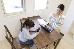 自宅で仕事をする妊婦さんの写真素材 [FYI04523933]