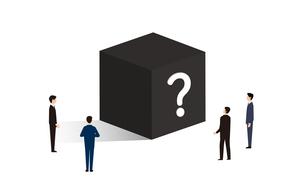 黒い箱、ブラックボックスとビジネスパーソンのイラストのイラスト素材 [FYI04524207]