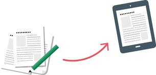 DX、紙からデジタルデータへの変化イメージのイラストのイラスト素材 [FYI04524213]