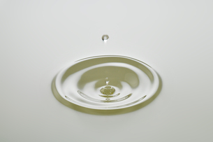 Dripping colorless oil on white background.の写真素材 [FYI04525443]