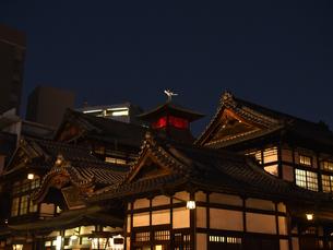 道後温泉本館 夜景の写真素材 [FYI04527036]