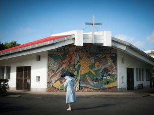 長崎県五島市 福江島 三井楽教会の写真素材 [FYI04527395]