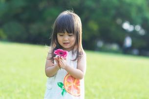 花を見つめる女の子の写真素材 [FYI04528184]