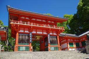 青空に映える八坂神社の西楼門の写真素材 [FYI04528406]