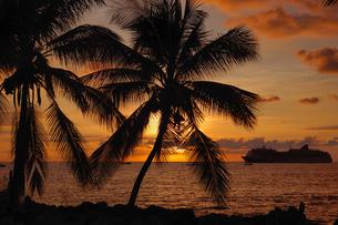 ハワイ州 ハワイ島 カイルアコナの海と夕焼けの写真素材 [FYI04528524]