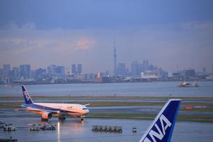 羽田空港夕景の写真素材 [FYI04529168]