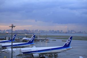 羽田空港夕景の写真素材 [FYI04529169]