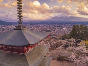 新倉山浅間公園の忠霊塔と桜と富士山 夕焼けの写真素材 [FYI04529225]