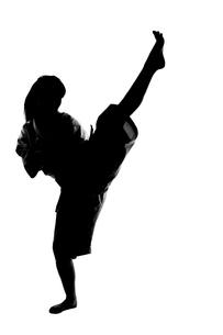 少林寺拳法をする女性のシルエットの写真素材 [FYI04529425]