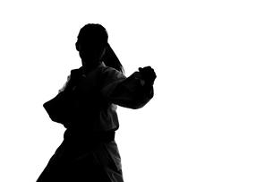 少林寺拳法をする女性のシルエットの写真素材 [FYI04529428]