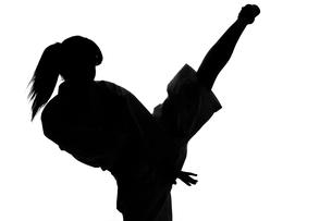 少林寺拳法をする女性のシルエットの写真素材 [FYI04529429]