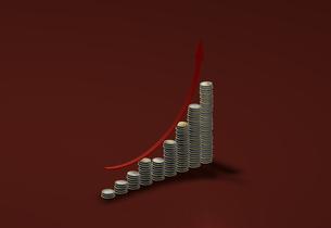 グラフの様に積み重ねたコインと矢印のイラスト素材 [FYI04529468]