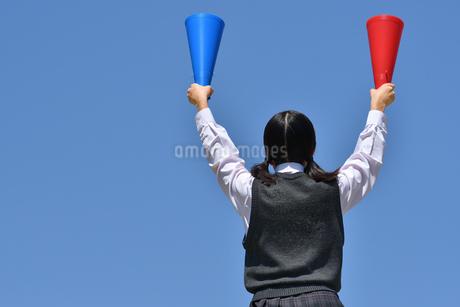 青空で応援する女の子(後姿)の写真素材 [FYI04529518]