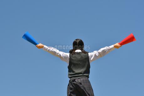 青空で応援する女の子(後姿)の写真素材 [FYI04529519]