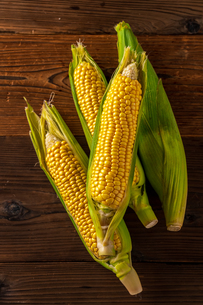 Corn cobs on wood background.の写真素材 [FYI04530580]