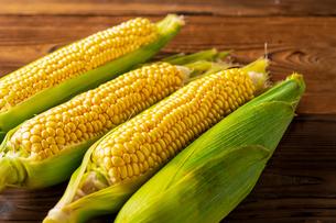 Corn cobs on wood background.の写真素材 [FYI04530588]