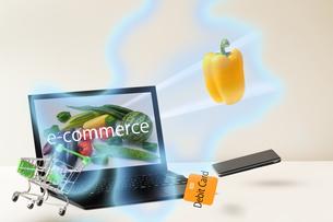 パソコンから物を購入するイメージ(eコマース、ネットショッピング)の写真素材 [FYI04530641]