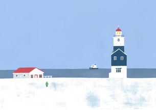 冬の灯台のイラスト素材 [FYI04530995]