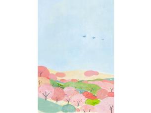 桜の咲く丘のイラスト素材 [FYI04530996]
