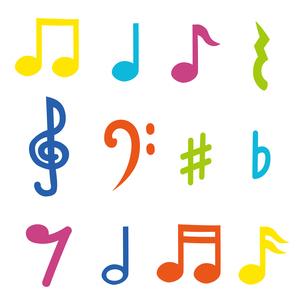 カラフルな音符や記号のイラスト素材 [FYI04531139]