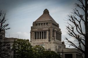 国会議事堂と曇天の空の写真素材 [FYI04531695]