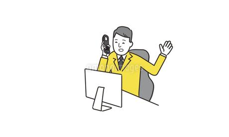 パソコンの前で笑顔で話すビジネスマンのイラストのイラスト素材 [FYI04531708]