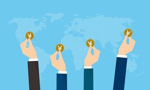 コインを持つ日本の投資家と世界地図のイラストのイラスト素材 [FYI04531711]