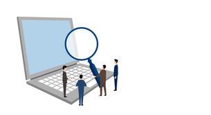 虫眼鏡を持つビジネスパーソンとノートブックパソコン、マーケティングのイラストイメージのイラスト素材 [FYI04531713]