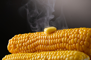 Melted butter on sweet corn.の写真素材 [FYI04532328]