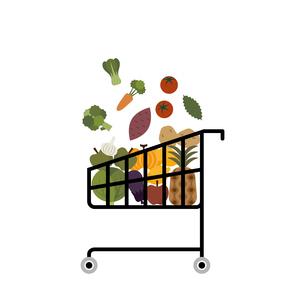 食材でいっぱいのショッピングカート イラストのイラスト素材 [FYI04532498]