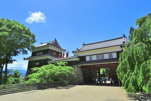 新緑の上田城 東虎口櫓門の写真素材 [FYI04532529]
