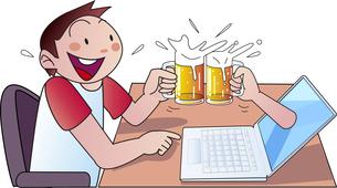 自宅でオンライン飲み会のイラスト素材 [FYI04532873]