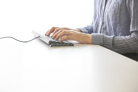 パソコンを操作する女性の手元の写真素材 [FYI04532956]