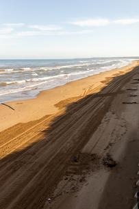 砂浜の車道の写真素材 [FYI04532998]