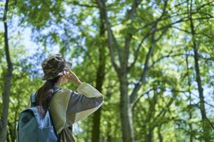 新緑の登山を楽しむ若い女性の写真素材 [FYI04533502]