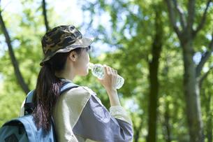 新緑の登山を楽しむ若い女性の写真素材 [FYI04533507]
