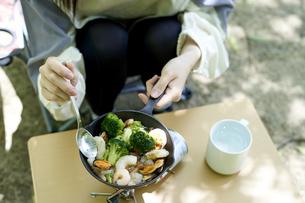 一人キャンプを楽しむ若い日本人女性の写真素材 [FYI04533519]