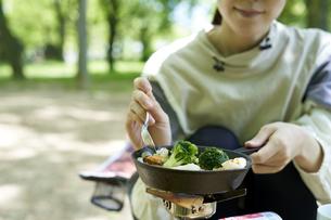 一人キャンプを楽しむ若い日本人女性の写真素材 [FYI04533520]