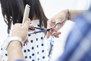 美容室で髪の毛を切る爽やかな美容師の写真素材 [FYI04533750]