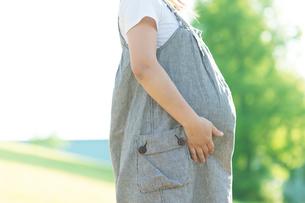 草原でお腹を抱える妊婦の写真素材 [FYI04534691]