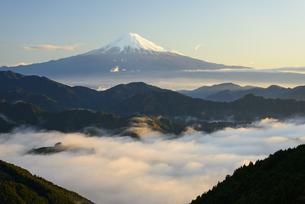 静岡県 雲海と夜明けの富士山の写真素材 [FYI04534908]