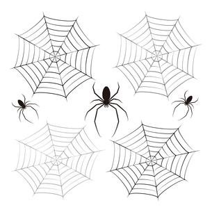 蜘蛛 蜘蛛の巣 黒色 イラスト クリップアートのイラスト素材 [FYI04535061]