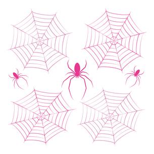 蜘蛛 蜘蛛の巣 ピンク イラスト クリップアートのイラスト素材 [FYI04535065]