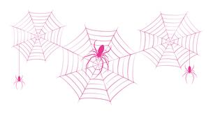 蜘蛛 蜘蛛の巣 ピンク イラスト クリップアートのイラスト素材 [FYI04535067]