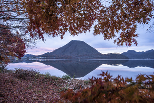 早朝の榛名山と紅葉の写真素材 [FYI04535953]