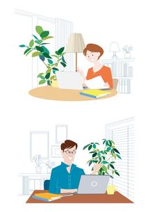 テレワーク、リモートワーク、在宅勤務する男性と女性のイラスト素材 [FYI04535993]